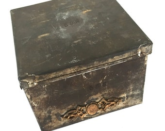 Vintage Industrial Tin Box 582 Jewelry Factory Findings Storage with Sample on Front