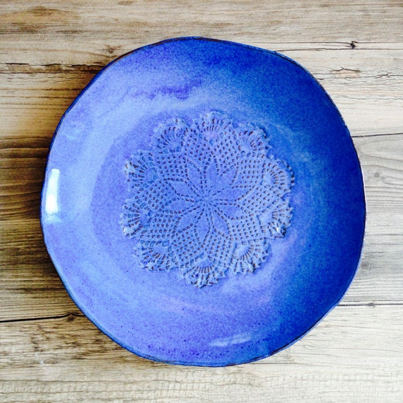 Ceramic Plate in Amazing Blue dinnerware - Provence - handmade tableware - wedding gift - housewarming pottery plate france