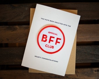 BFF Club - letterpress card & embroidered patch