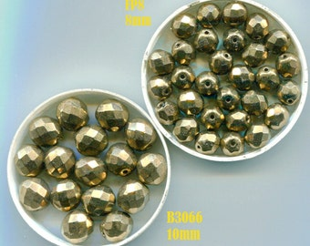 Faceted Beads, Gold and Crystal , Vintage Czech & Swarovski , 5 Styles, FP8.B3036. B3064.B3065.B3066.B4177*