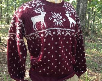 Vintage Jantzen Reindeer and Snowflake Sweater