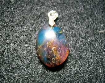 Strong Colorful Dominican Blue Amber and Sterling Silver Pendant