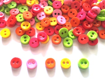 100 pcs  Tiny Button micro button 2 holes size 6mm mix red, yellow, orange, light pink, green