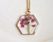 Pink Alyssum Flower Necklace, Hexagonal Flower Pendant Necklace, Geometric Necklace, Pink Flower Necklace, Pressed Flower Necklace