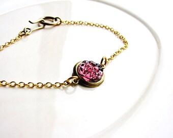 Purple Cabochon Bracelet, Purple Jewel Stacking Bracelet, Minimalist Bracelet, Boho Bracelet