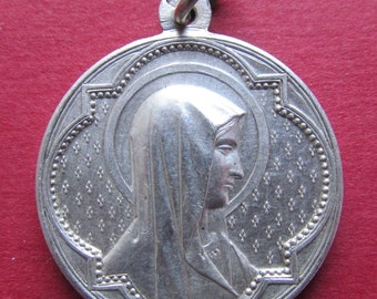 Antique Virgin Mary Religious Medal French Silver Catholic Pendant Signed Penin  SS366