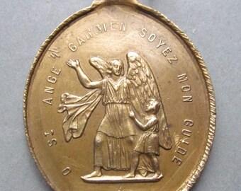 Guardian Angel Antique Religious Medal Saint Louis Gonzaga Catholic Pendant  SS317