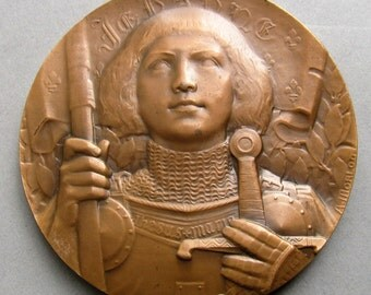 Joan Of Arc Vintage French Bronze Religious Art Medal Signed Morlon