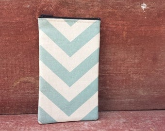 Eyeglasses Zipper Pouch Aqua Chevron Handmade in Iowa