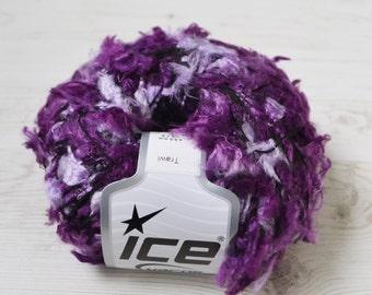 Eyelash purple yarn, Destash yarn, eyelash yarn, Y25