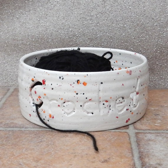 Yarn bowl crochet wool handthrown ceramics pottery ceramic