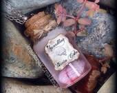 Sparkling Brain Cider - bottle charm pendant, necklace, resin, halloween jewelry