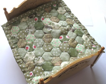Dollhouse Miniature Patchwork Quilt in 12th Scale - Green Hexagons