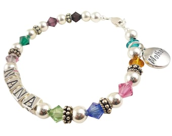 Mothers Bracelet with swarovski crystals in the children's birthstones and any names or Grandma personalization - you custom design it!