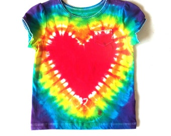 Toddler Girl's Tie-dye T-shirt, Size 24 months, rainbow heart with pocket