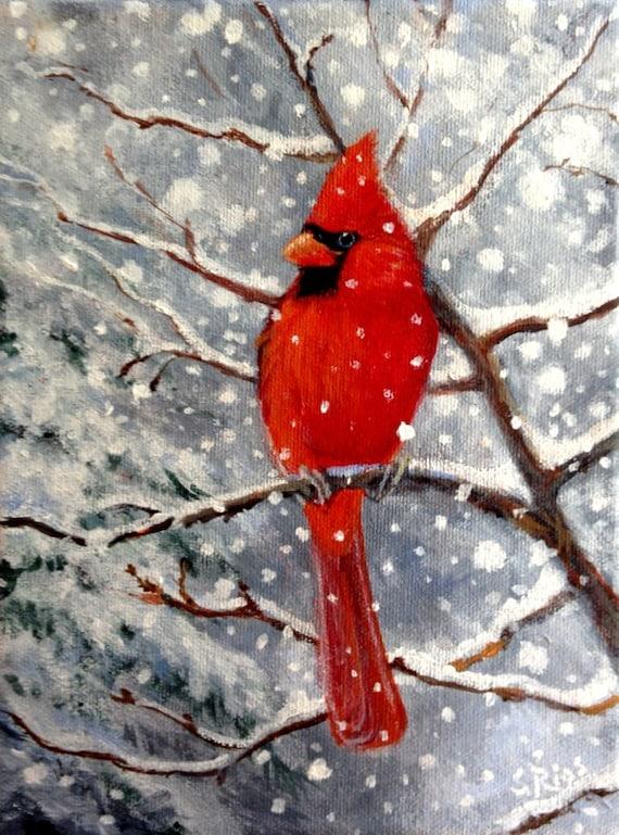 Red Cardinal Bird Print Cardinal in Snow Cardinal Art