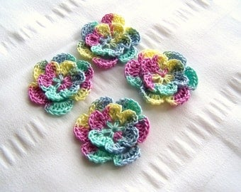 Appliques hand crocheted flowers set of 4 butterfly breeze cotton 1.5 inch