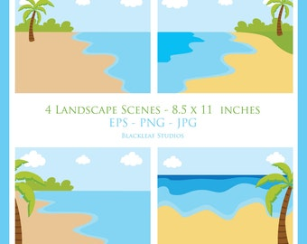 Landscape Beach scene story book digital image clip art, stickers, toppers, story board, logo Personal Commercial Use Instant Download