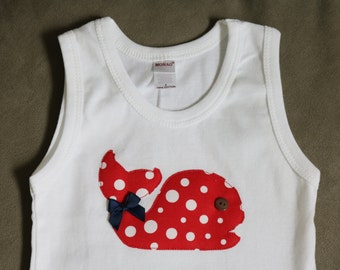 Whale Tank Top, White, Red Polka Dot, Size 18 months and 2t, RTS
