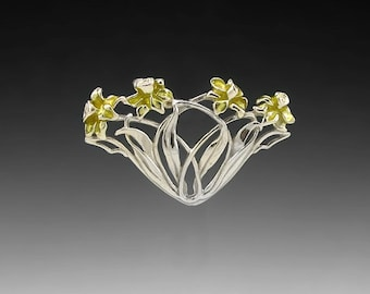 Daffodil Spray Sterling Silver Pin/Brooch with Resin Enameling