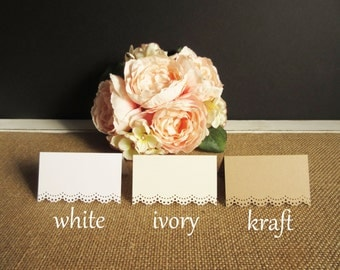 100 Blank- Mini Eyelet Scallop Edge / Tent Place Cards - Escort Cards - Wedding - Reception - Rehearsal Dinner/ Placecards
