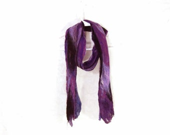 Cobweb Felted Scarf Wool Scarf Gifs for Her Winter Scarf Purple Scarf Womens Scarf Winter Accessory Lightweight Scarf in Purple Black OOAK