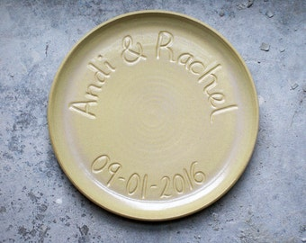 Made to order - Large commemorative platter with coupe style edge glazed in your choice of colour
