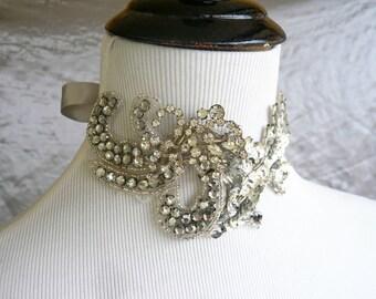 Art Deco, Victorian Beaded Silver Rhinestone Choker - Crystal Necklace - Burlesque Wedding Bridal - Rhinestone Headpiece, Headdress Duo