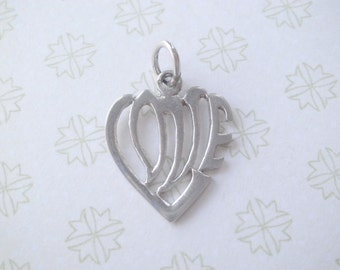 Vintage Sterling LOVE Heart Charm