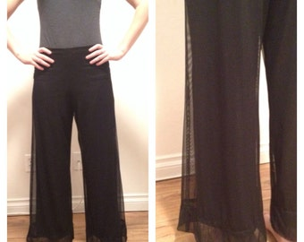 Wide Leg Pants, Bell Bottoms, Sheer, Ultra Wide Leg, High Rise, Palazzo, High Waisted Trousers, 90s grunge Black Sheer Pants Dress Pants M 8