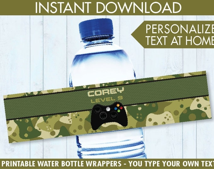 Video Game Party Water Bottle Labels or Wrappers - Video Game Drink Labels, Video Game Birthday, Camo - INSTANT Download Printable PDFs