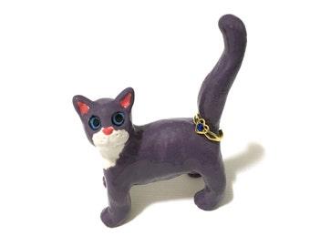 Purple Cat Ring Holder, Hand-Built Purple Cat Sculpture, Anime Cat Art