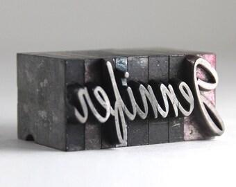 JENNIFER - 48pt Vintage Metal Letterpress
