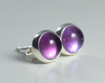 amethyst 6mm sterling silver stud earrings