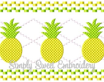 Faux Smocking Pineapple Machine Embroidery Design