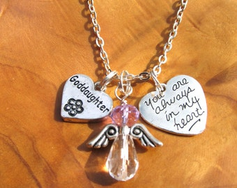 GOD DAUGHTER- My Special Angel - Necklace - Personalize -Choose any Birthstone Angel