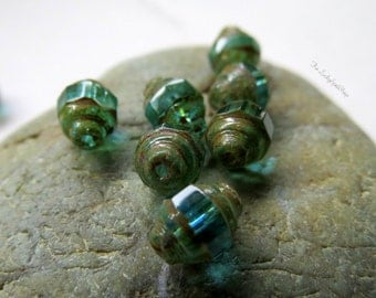 NEW Bright BEACHY LANTERNS .  Czech Picasso Glass Beads . 7 by 8 mm (10 beads)
