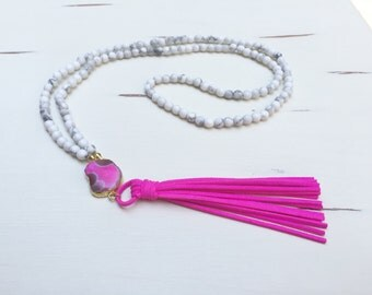 Beaded Tassel Necklace with White Howlite Beads, Pink Agate Slice & Pink Suede Tassel
