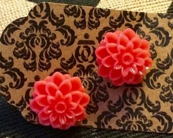 Small Dark Coral chrysanthemum earrings ~ So Whimsicle!
