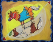 Miniature Pony Horse and Lucha Libre Doppleganger Pop Art Happyart Painting