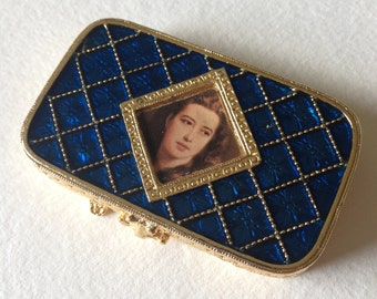 Estee Lauder Solid Perfume Compact Deep Blue Enamel Young Lady