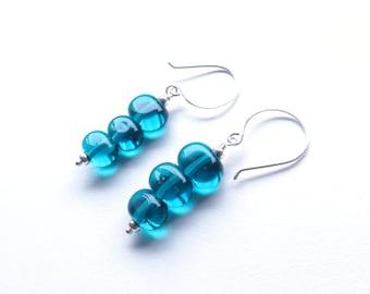 Oval teal blue glass and sterling silver dangle earrings australian jewellery