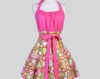 Flirty Chic Womens Aprons . Full Vintage Style Modern Floral in Pink Yellow and Green Cute Retro Hostess Kitchen Cooking Womans Apron
