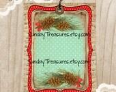 3 Pinecones Tags / Red Aqua Retro Vintage / Shabby Rustic Pine cone Tags / Lg Favor Bag Gift Tags Label / Ornament / 3 DayShip (ref-ts)