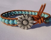 Turquoise Magnesite Beaded Leather Bracelet with Daisy Button