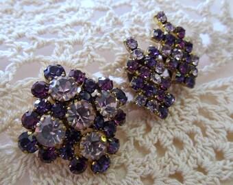 Vintage Two Tone Purple Austrian Crystal Brooch and Clip Earrings