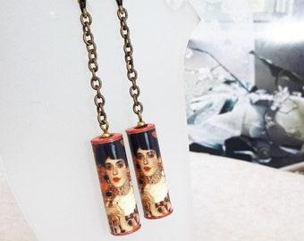 Gustav Klimt, Adele Bloch-Bauer, Paper Tube Beads Dangle Antique Bronze Hook Earrings