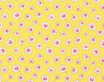 Retro 30's Child Smile Spring 2016 Collection Cotton Fabric Lecien 31281-50 Daisy Flowers onYellow