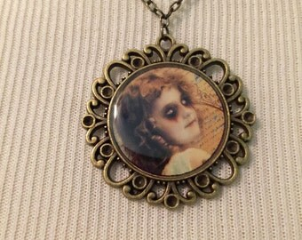 Vintage Ghost Girl - Antique Brass Necklace