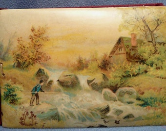 Victorian Celluloid Autograph Album Man Fishing Cover
